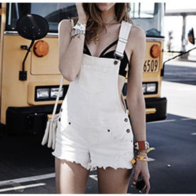 8701e424dc9 Nice Pop Fashion Clothes Women Cotton Denim Playsuits White Loose Overalls  Back Hole Rompers Loose Casual