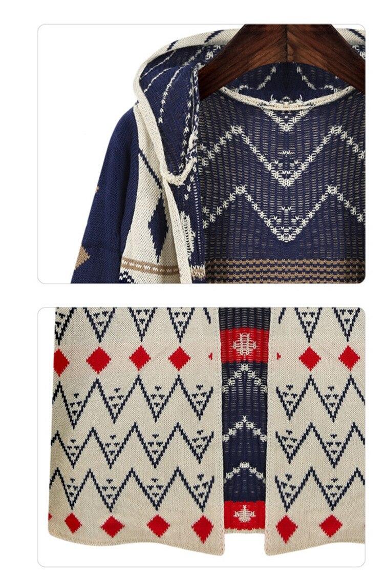 Горячая распродажа женский длинный вязаный кардиган Свободный Повседневный с капюшоном Геометрическая куртка пальто Бохо свитер