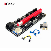 New PCI-E pcie Riser 009 Express 1X 4x 8x 16x Extender PCI E USB Riser 009S GPU Dual 6Pin Adapter Card SATA 15pin for BTC Miner 1