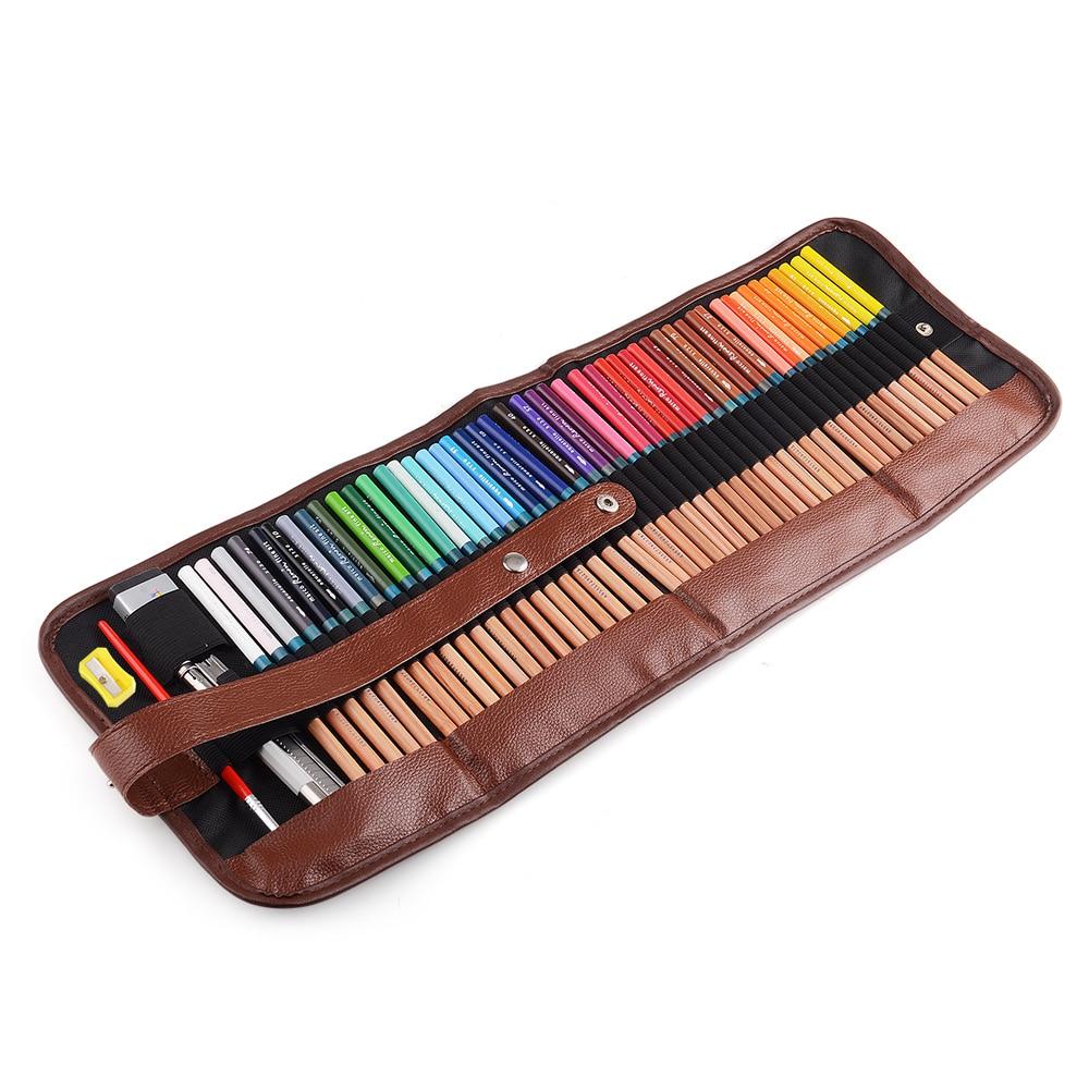 Marco 48 crayons de dessin d'art de couleur de l'eau + extender de crayon de gomme réglé avec l'étain en métal et enroulent le sac de stylo de toile de poche pour l'artiste