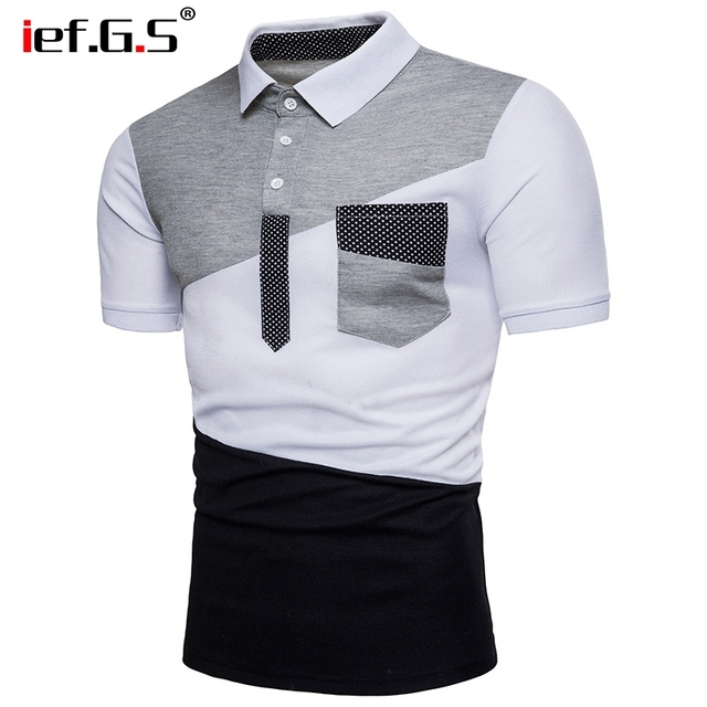 IEF.G.S Men's Casual POLO Shirt Summer Fashion New Black and White Irregular geometry Stitching Short sleeved Polo Shirt Slim