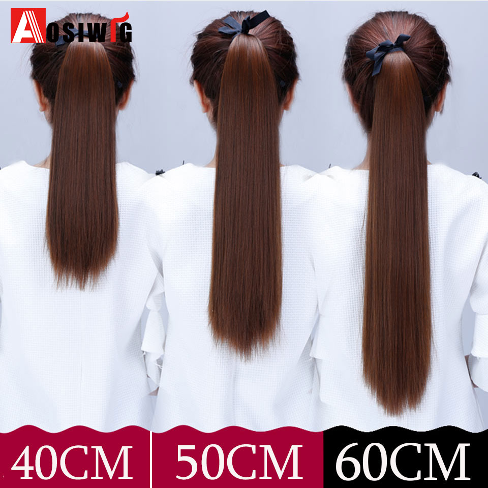 AOSIWIG 22 Long Straight Clip In Hair Tail False Hair Ponytail Hairpiece With Hairpins Synthetic Hair PonyTail Hair Extensions