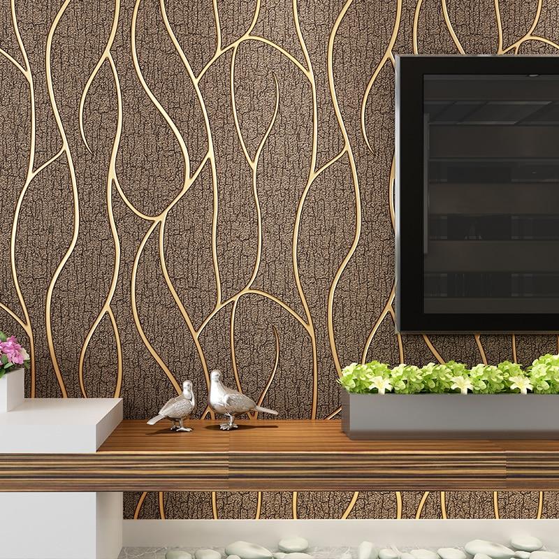 ФОТО Gold Silver Stripes Suede TV Unite Wallpaper Roll papel de parede modern