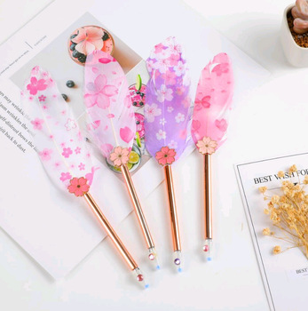 48pcs Kawaii Gel Pens Sweet Cherry Feather Black Pen for Kids Stationery Creative Gift Cute Pens for School Office Supplies