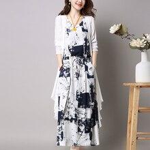 2019 Spring Autumn New Womens Two-piece Plus Size Spaghetti Strap Dress Woman Fashion Retro 2 Piece Set Women Chinese Style