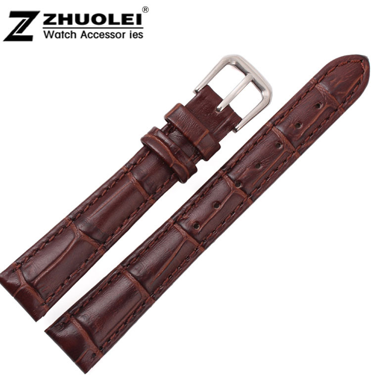 New Brown Alligator Pattern Genuine Leather Watch Bands Straps Bracelets With Silver Clasp Buckle Free Shipping 16mm 15mm 13mm alligator leather watchband brand style straps bracelets wristwatches accessories with free buckle deployment 20mm 21mm 22mm new