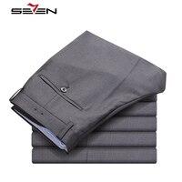 Seven7 Classic Dress Pants Men Formal Business Wedding Grey Suit Pants Casual Slim Fit Male Cotton