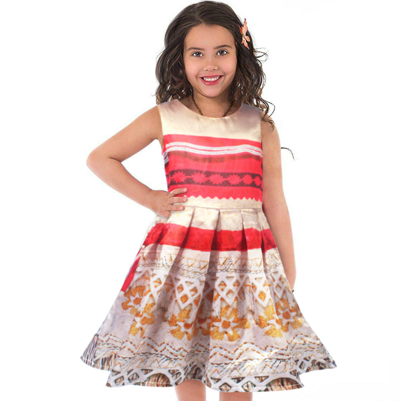 Moana Dresses Princess Vaiana Dress for Girls Moana Cosplay Costume Halloween Beach Tops Sundress Vestidos Girls Clothes