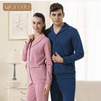 Qianxiu Pajamas For Men Modal Cotton Pijama Set Casual Patchwork Home clothing Couples Matching Pajama sets 1501