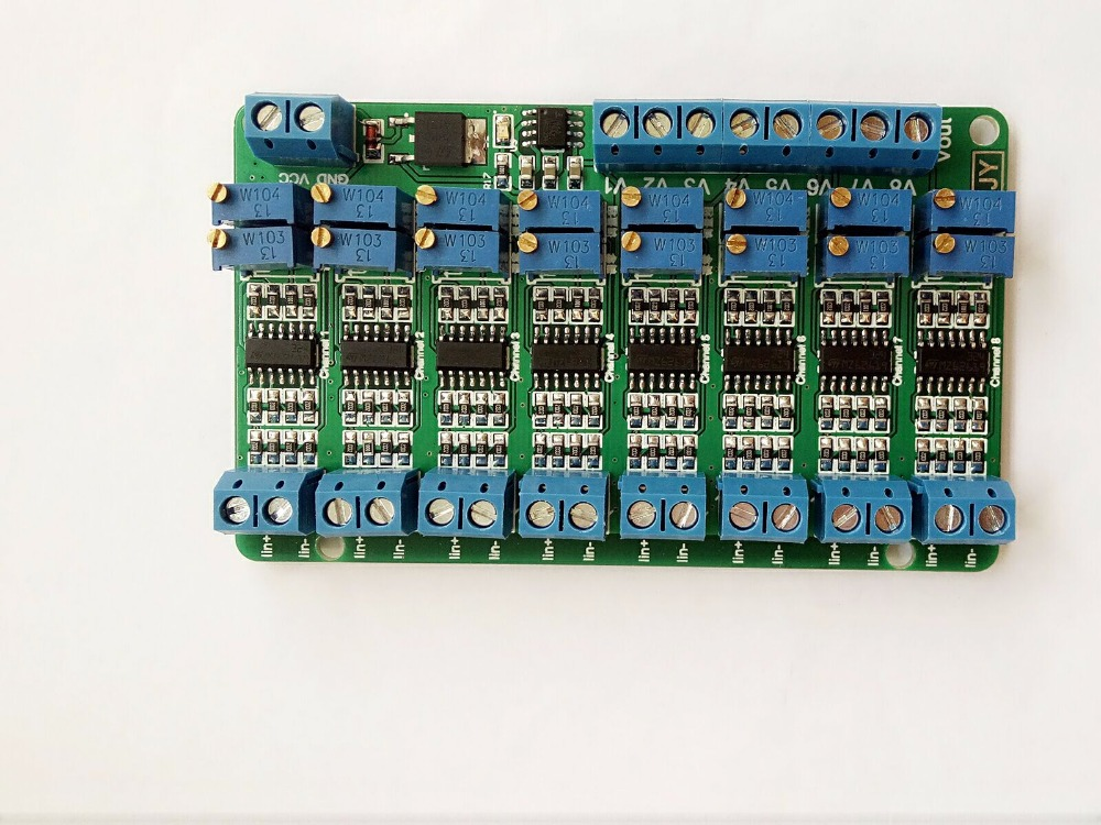Free shipping 8 Way Current to voltage module 4~20mA to 0-3.3V/0-5V/0-10V/0-15V Multi-channel signal transfer module