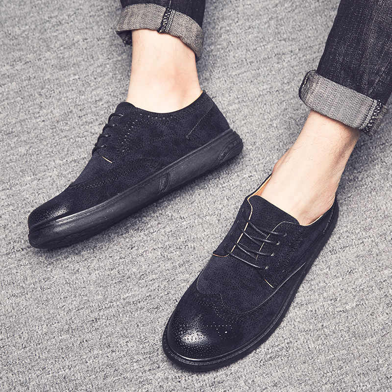 b603f8dd54acb ... Mens Oxfords Leather Basic Dress Formal Brogue Shoes Man Fashion  Classic Europe Luxury Gentry Style Best ...