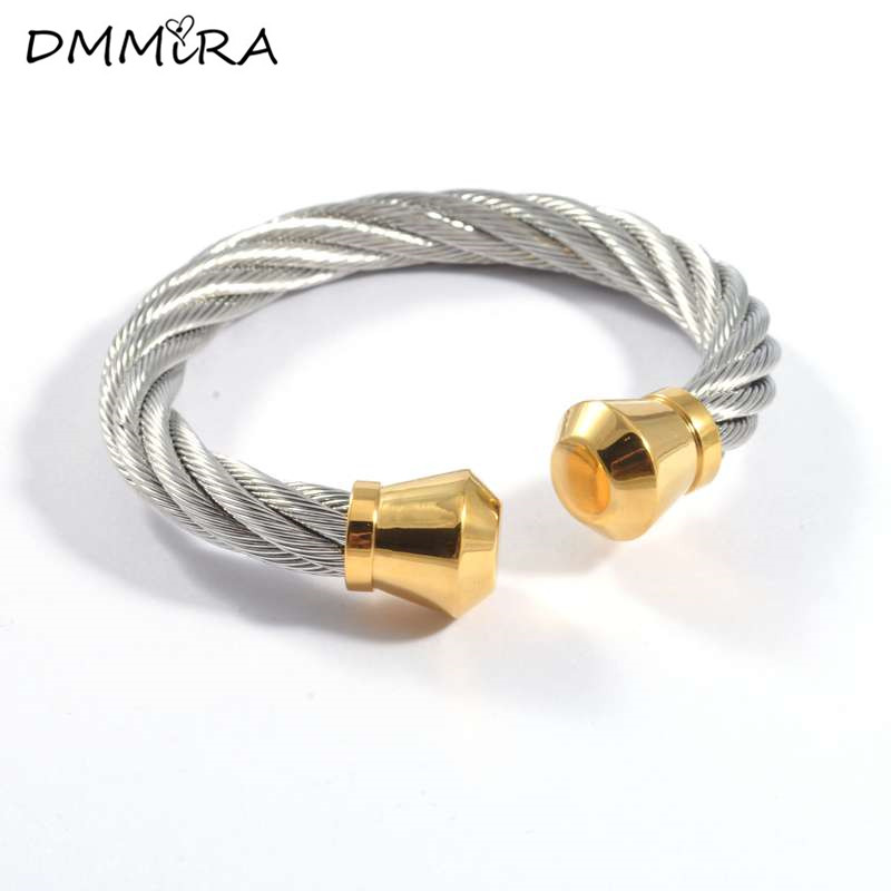 Hot sale Twisted Thick Cable Wire Bracelets Fashion Stainless Steel ...