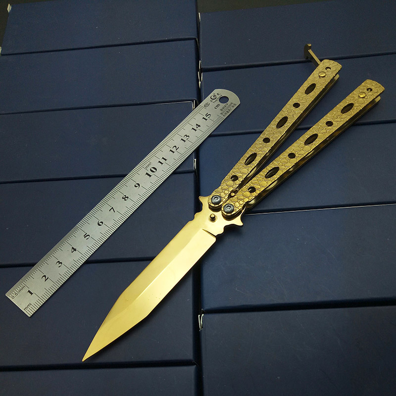 Schlangenhaut Drachen Squama Schmetterling in Messer PRAXIS Messer KEINE Scharfen Unsharpend Tactiacl Falten Klinge Gold Titan Geschnitzte Finish