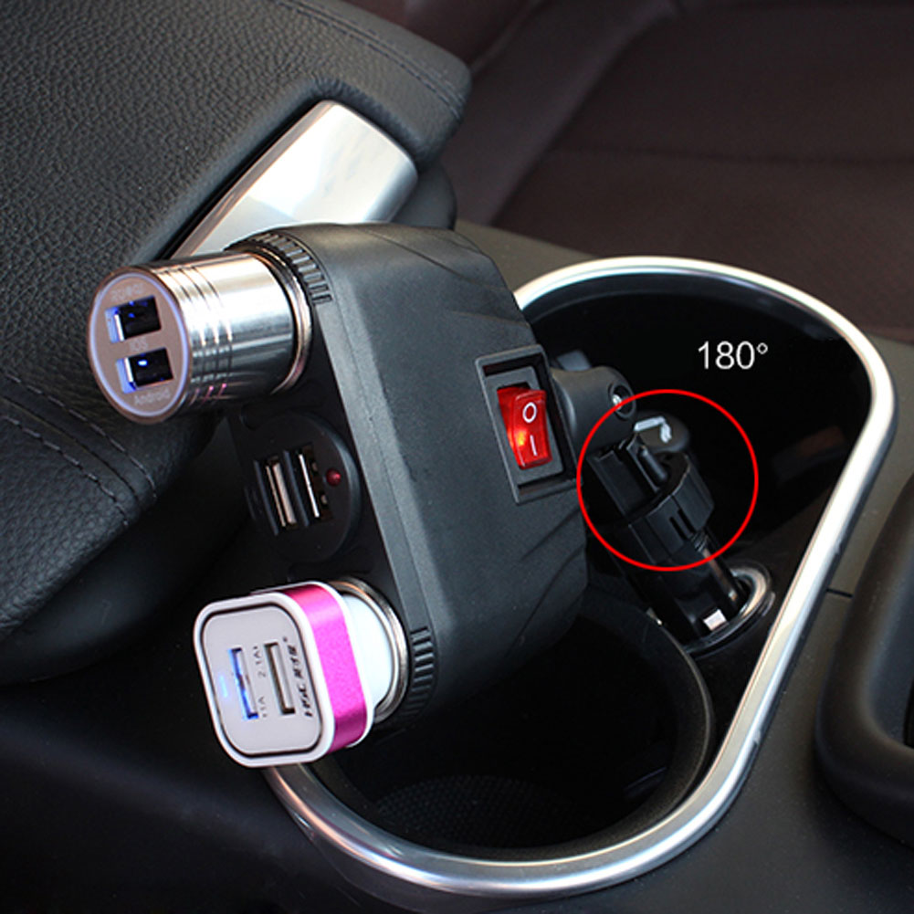 Best Quality with Free Shipping for Dual USB Car Charger Adapter Support Two Cigarette Lighter