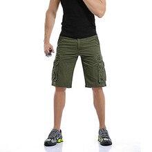 Mens Military Cargo Shorts Men Brand Cotton Casual Army Green Tactical Multi-Pocket Shorts Cotton Short Pants Bermuda Trousers drawstring side pocket bermuda shorts