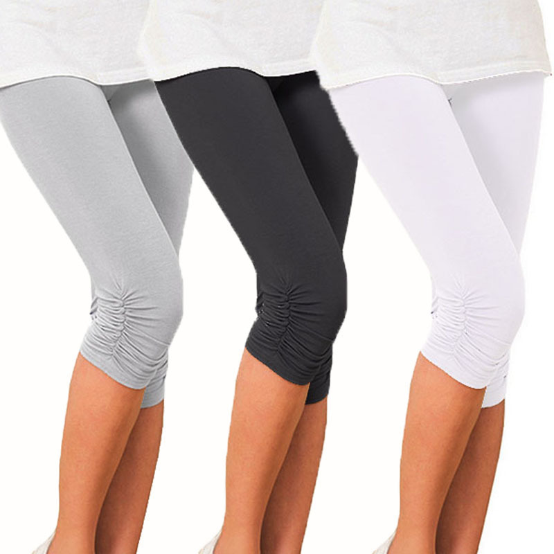 Summer Knee Length solid   Leggings   For Women Lady Cropped Trousers Floral Skull   Legging   Elastic Waist Push Up   Leggings   plus size