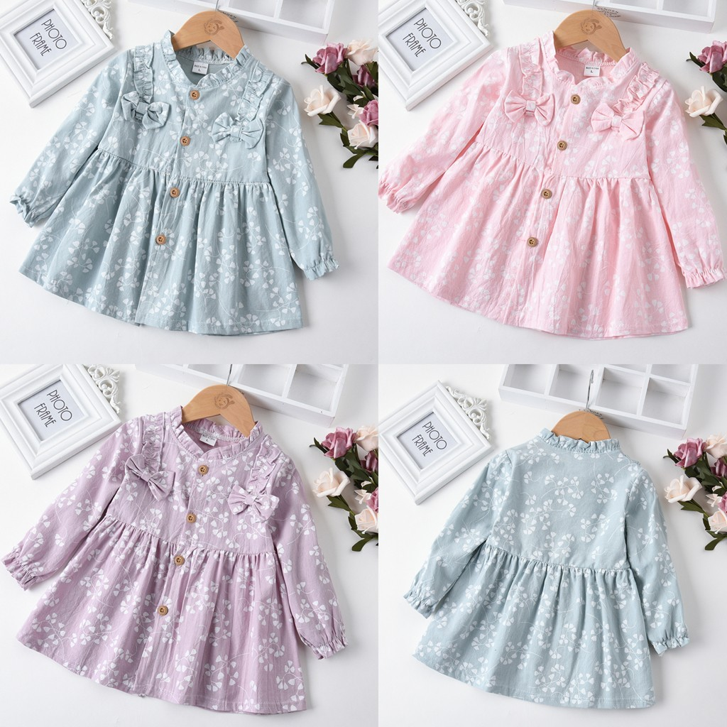 Fashion Toddler Baby kId Gir Dress Long Sleeve Solid Ruched Floral Dress Clothes