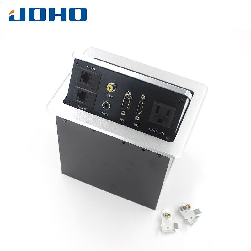 JOHO 15A Desk Socket Table Pop-up Outlets US Socket, 2 Datas, VGA, HDMI, Audio-L & Audio-R Inserts Desktop Power SocketJOHO 15A Desk Socket Table Pop-up Outlets US Socket, 2 Datas, VGA, HDMI, Audio-L & Audio-R Inserts Desktop Power Socket