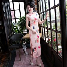 New Women Print Flower Chinese Style Party Dress Vintage Mandarin Collar Sexy Cheongsam Lady Handmade Button Qipao Size M-3XL