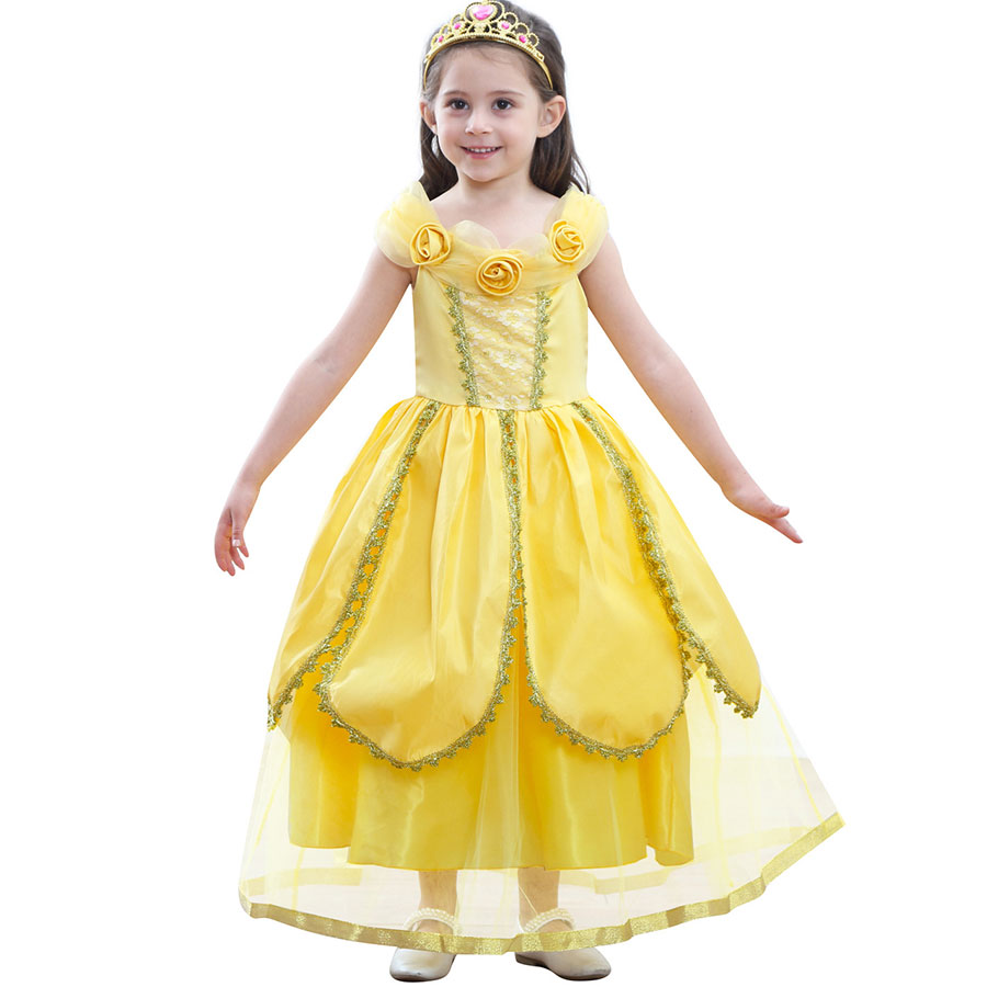 Beauty and The Beast Costume Princess Belle Costumes Deluxe Party Dresses Fancy Yelllow Belle Dress Up For Girls
