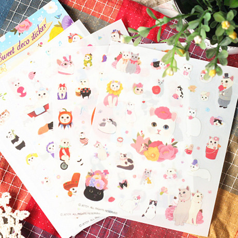 T46 4 Sheets Pack Kawaii Cute Cat DIY Decorative Stickers Diary Phone Bottle Decor Stick Label Kids