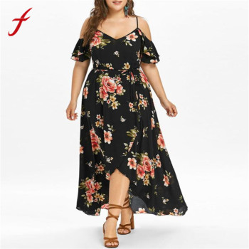 2018 Feitong New Arrival Dress Plus Size Women Casual Short Sleeve Cold Shoulder Boho Flower Print Long Dress Casual Brand Dress Платье