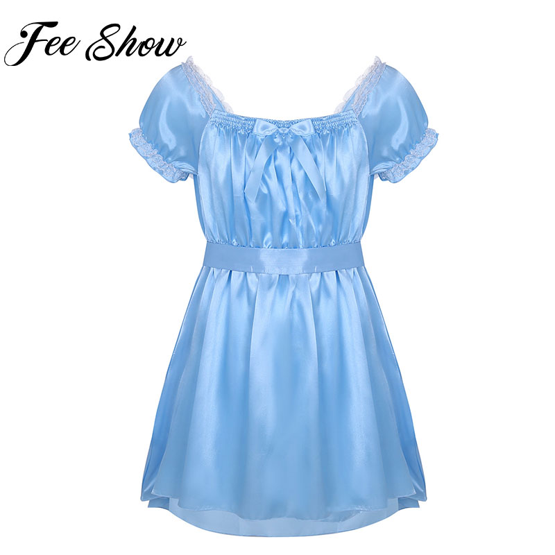 FEESHOW Men Man Nightdress Shiny Satin Solid Square Neck Sleep Top Dress Nightwear Nightshirt Lingerie & Sash Gay Male Sexy Lace Elastic Waistband Crossdress Sleepwear Underwear