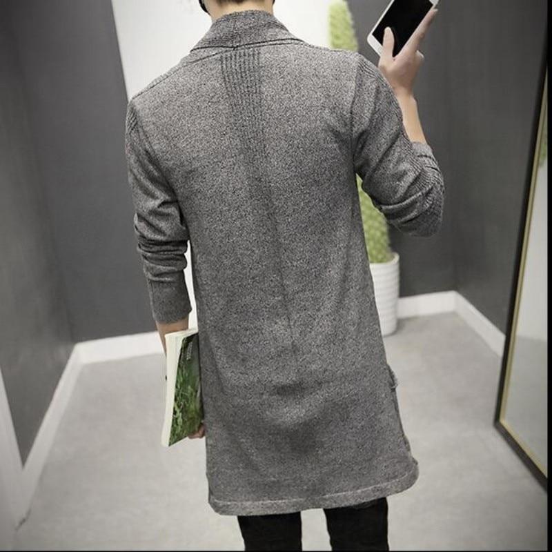 2019 New Fashion Mens Cardigan Slim Fit Wool Long հագուստ - Տղամարդկանց հագուստ - Լուսանկար 5