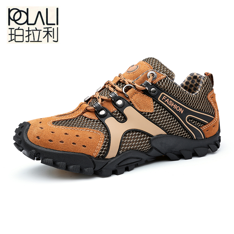 POLALI Hot Sale Breathable Light Spring Summer Casual Sneakers Male Mesh Shoes For Men Cow Suede Leather Adult Walking Footwear