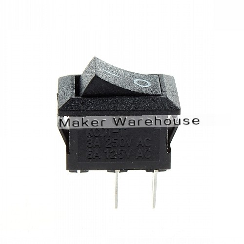 250V 3A Mini Boat Rocker Switch 2-Pin Plastic Button ON/Off SPST  (Pack Of  5)
