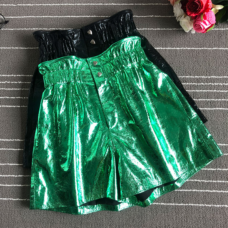2019 Spring autumn sheepskin leather Shorts Chic women's real leather high-waist wide-leg short trousers A596