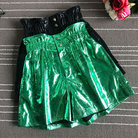 2019 Spring autumn sheepskin leather Shorts Chic women's real leather high waist wide leg short trousers A596