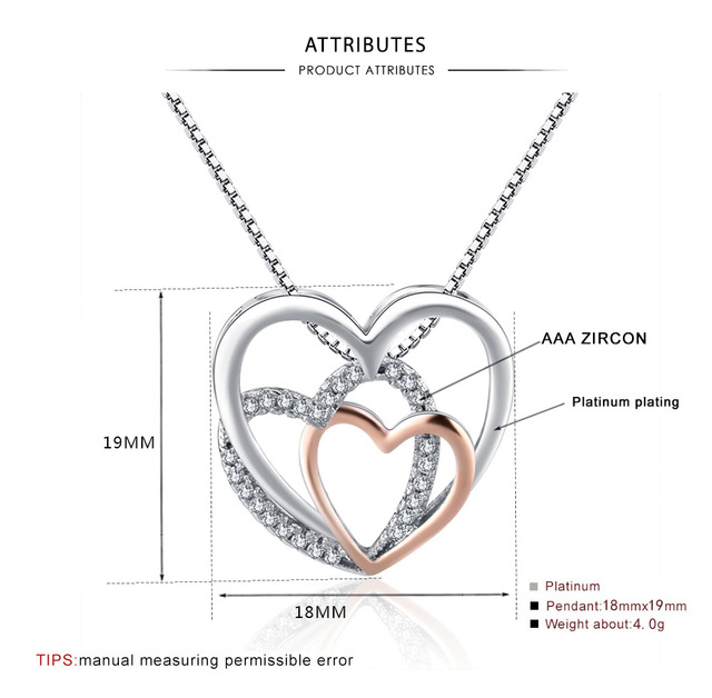 Heart Crystal Necklaces Statement Chain Necklace Woman valentines Gift 4