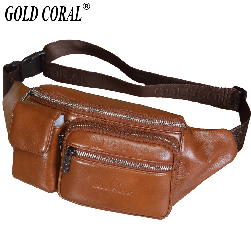 GOLD CORAL Casual Genuine Leather Waist Bag Men Belt Bags Phone Pouch Male Fanny Pack Travel Chest Bags Messenger Bag Coin Purse