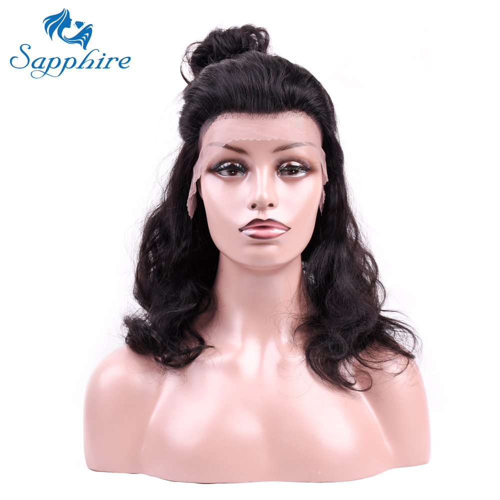 Sapphire Brazilian Body Wave Human Remy Lace Frontal Wigs Natural Black Wigs For Black Women 10-20 Inch Human Hair Wigs