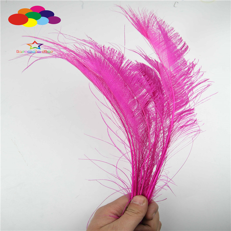 Z & Q & Y Naturel Nouveau 100 35-40 CM (14-16 Pouce) Paon Plume plume Rose Rouge DIY Maquillage Balle de Scène Ornement Décoration