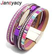 Janeyacy 2018 богемный жемчужный кожаный браслет с кристаллами