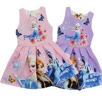 2018 Nowy Prom Kreskówki Dla Dzieci Girls Dress Drukuj Vestidos Sukienka Elsa Sofia Księżniczka Kostium dla Dzieci Ubrania Dzieci Sukienek