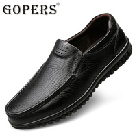 GOPERS Mens Casual Genuine Leather Flats Loafers For Men Comfortable Business Casual Brown Black Pea Boat