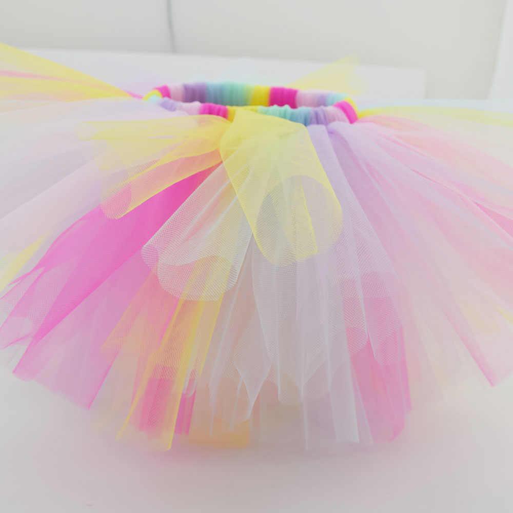 Falda tutú de niña de bebé de arco iris Pastel hecha a mano esponjosa hermosa Tutus recién nacido foto Props Pettiskirt suave tul de Nylon