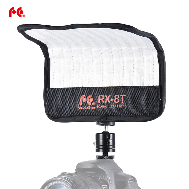 FalconEyes RX 8T 16 W Mini LED lampa wideo 5600 K CRI94 elastyczne tkaniny i staje W sytuacji sam na sam kamery lampa światła dziennego Splash proof dla Studio fotografii