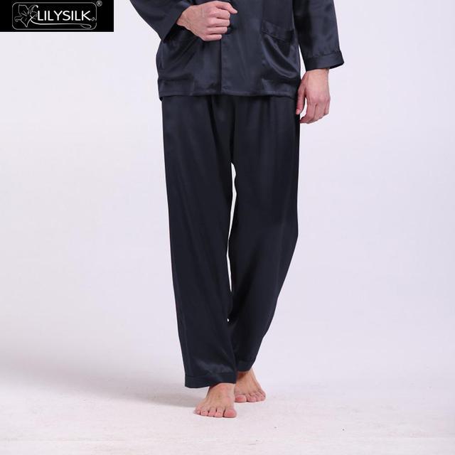 Lilysilk Brand Clothing Men Silk Pajamas Bottom Pants Long Sleep Wear 22 Momme Pure Lounge Male Navy Blue Pyjamas Home Pant
