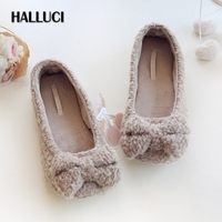 HALLUCI Knitted Bow Knot Warm Short Plush Pantufa Home Slippers Women Shoes Soft Chinelo Sandalia Feminina