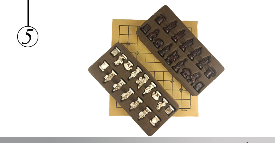 Easytoday Chinese Chess Games Synthetic Leather Chessboard Chinese Terracotta Warriors Resin Chess Pieces Table Games Birthday Gift (5)