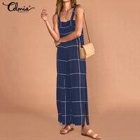 2019 Summer Women Sexy Straps Jumpsuits Celmia Ladies Vintage Plaid Rompers Sleeveless Split Long Pantalon Overalls Macacao 5XL