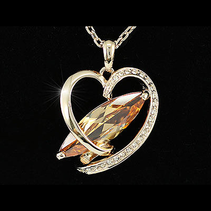 Peacock Star Heart Rose Gold Color, Silver Color Marquise Cut 8 Carat Cubic Zirconia Necklace CSN159