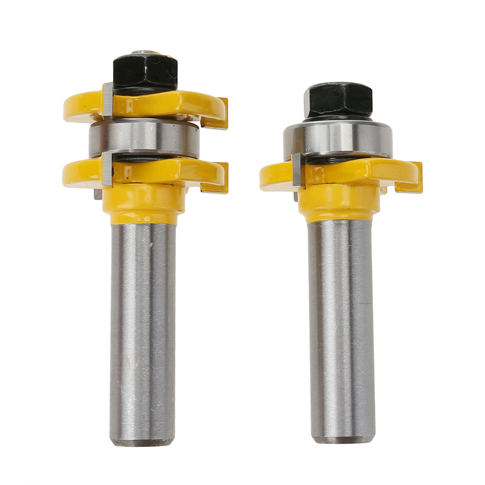 New 2Pcs Tongue & Groove Router Bit Set 1/4 Stock 1/4 1/2 Shank 3 Teeth T-shape Wood End Mill Cutter For Woodworking Tools high grade carbide alloy 1 2 shank 2 1 4 dia bottom cleaning router bit woodworking milling cutter for mdf wood 55mm mayitr