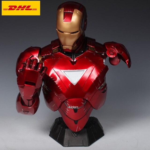 """16 """"estátua Vingadores Homem De Ferro Tony Stark 1:2 MK6 Cabeça Retrato Com Luz LED Action Figure Collectible Modelo GK brinquedo 41 CM B461"""