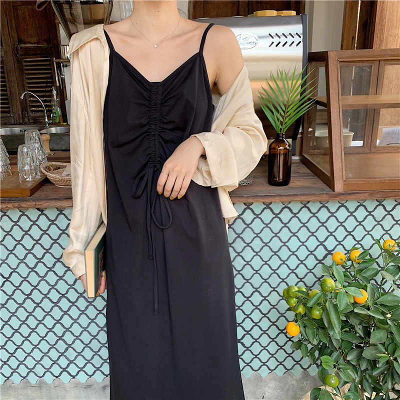 Женское платье на бретельках, свободные летние длинные платья без рукавов, сексуальное женское платье Макси