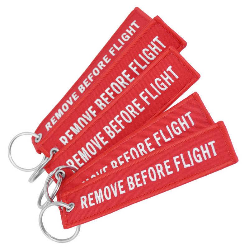 "Doreen กล่อง Hot Tags พวงกุญแจ Keyring สี่เหลี่ยมผืนผ้าโพลีเอสเตอร์เย็บปักถักร้อยข้อความ ""Remove Before Flight"" Multicolor KEY,1 PC"